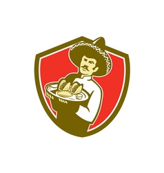 Mexican Chef Cook Serving Taco Plate Shield vector image