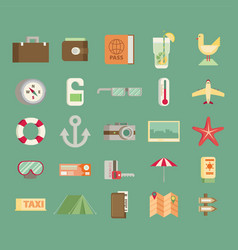 Modern flat icons collection in stylish colors of vector