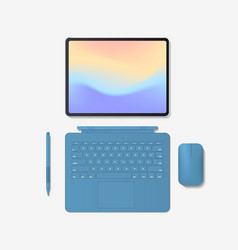 modern tablet computer with keyboard mouse pen and vector image