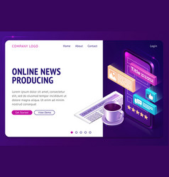 Online news producing isometric landing web page vector