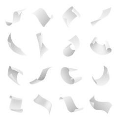 Papers flying clean blank paper sheet falling vector