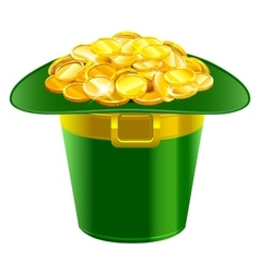 Patrick hat full of gold coins Patrick green hat vector image