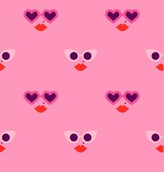 pink heart shape sunglasses woman face pattern vector image