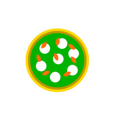 Pizza with white cheese vector