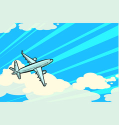 plane is flying in clouds air transport vector image