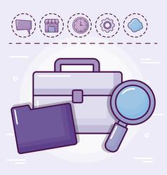 portfolio with folder and set icons vector image