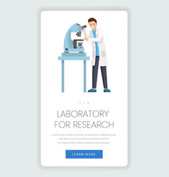 research laboratory mobile webpage template lab vector image