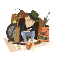Sad man homeless isolated vector