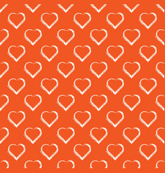 Seamless pattern of white hand draw hearts vector