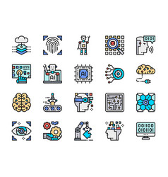 set artificial intelligence color line icons vector image