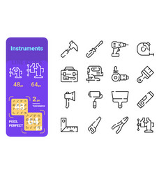 set instruments simple lines icons measure vector image