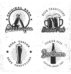 set logos beer concept labels in retro style vector image