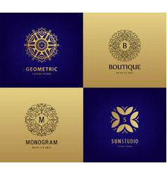set luxury monogram vintage logos vector image