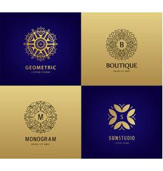Set of luxury monogram vintage logos vector