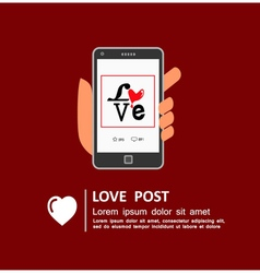 Sharing Love Message on Social Media vector image