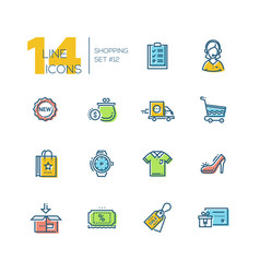 Shopping - thick line icons set vector