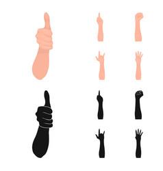 Sign language cartoonblack icons in set vector