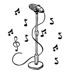simple black and white microphone on a stand vector image