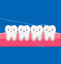 Smiling are flossing in oral vector