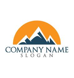 Snowy mountain and sun logo design vector