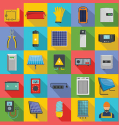 Solar energy equipment icons set flat style vector