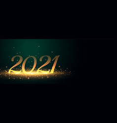 Sparkling 2021 golden banner for happy new year vector