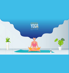 Stay at home and do yoga at home concept banner vector