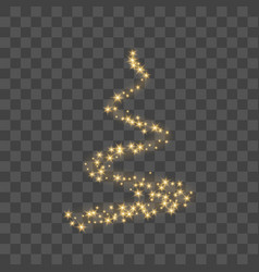 stylized gold christmas tree as symbol happy vector image