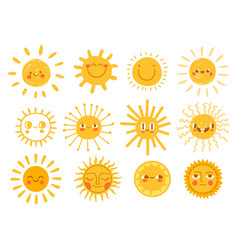 Sun characters cartoon sunshine emoji with funny vector