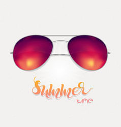 Sunglasses with sunset reflection vector