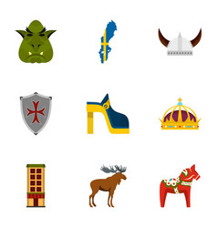 sweden travel icons set flat style vector image