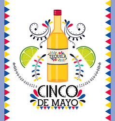 tequila with lemon to mexican traditional event vector image