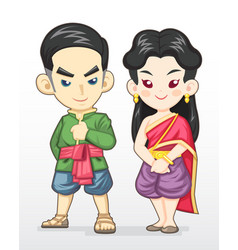 Thai couple in traditional costume vector
