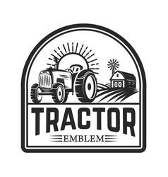 tractor emblem farmers market design element for vector image