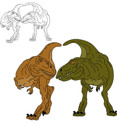 Two dinosaurs together vector