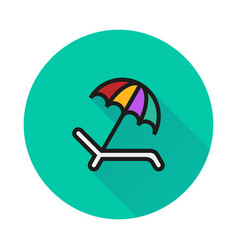 Umbrella recliner icon on round background vector