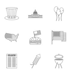 usa patriotic holiday icon set outline style vector image