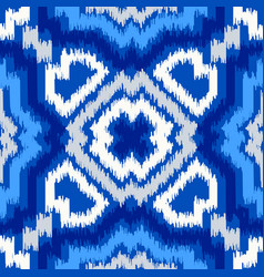 uzbek ikat silk fabric pattern indigo blue and vector image