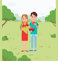 Vegans couple in park picnic and vegetable snacks vector