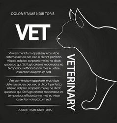 veterinary chalkboard poster with cat silhouette vector image