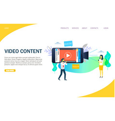 Video content website landing page design vector