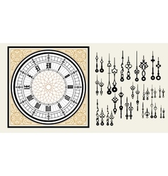 Vintage Clock dial with set hands in the Victorian vector