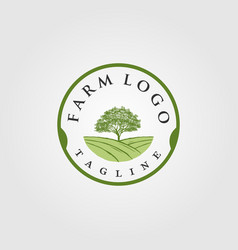 vintage farm with tree logo designs vector image