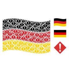 Waving german flag pattern of warning items vector