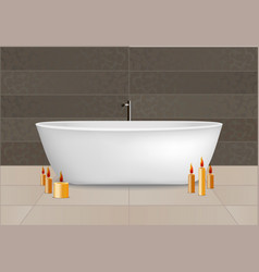 White bathtub concept background realistic style vector