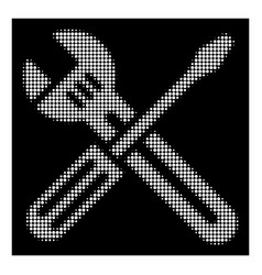 white halftone spanner and screwdriver icon vector image