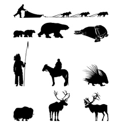 Winter silhouettes of animals sled dogs vector