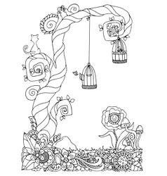 zentangl tree on the meadow vector image