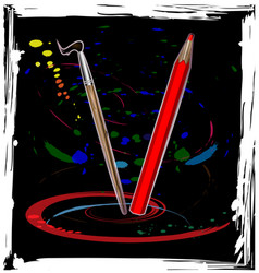 abstract dance of pencil vector image vector image