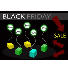 Black Friday Sale Banner with Percentages Discount vector image